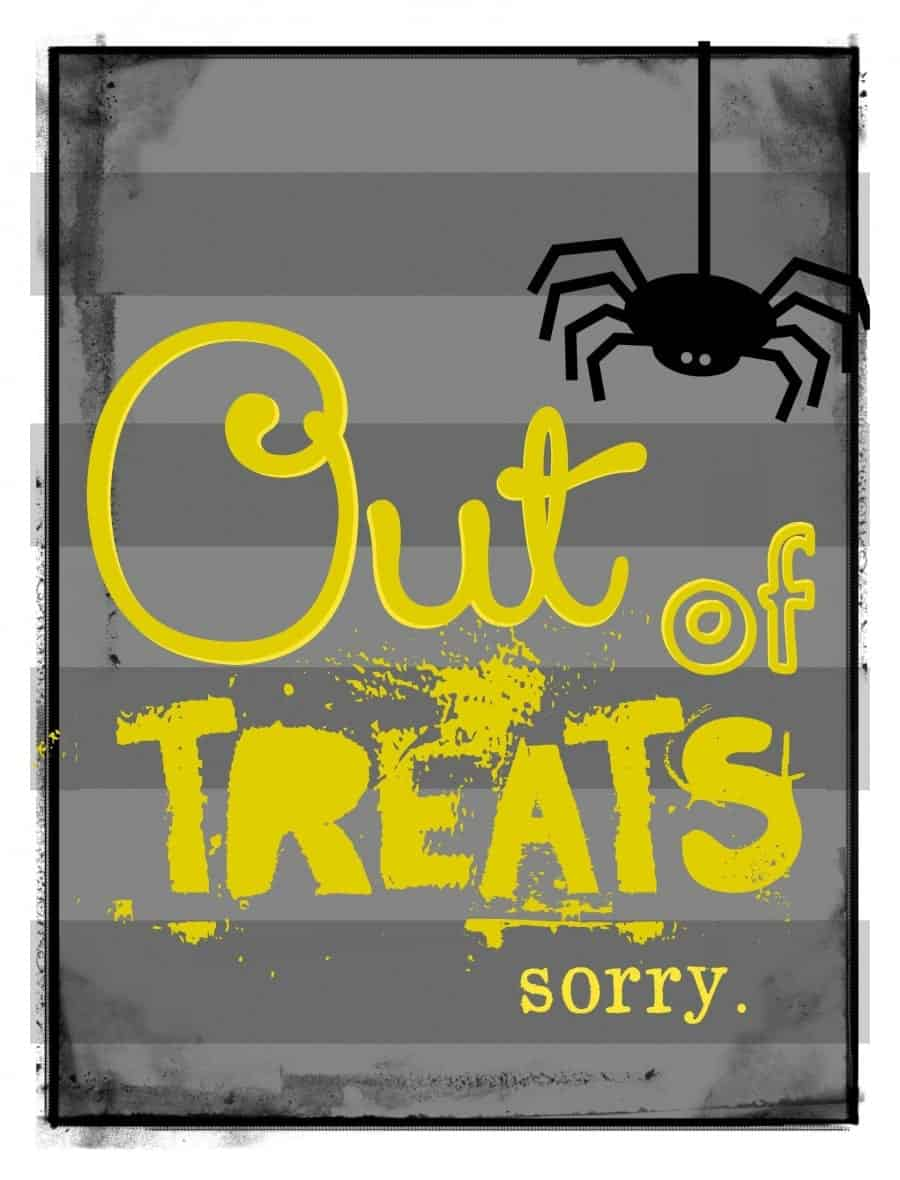 out of treats sign yellow10