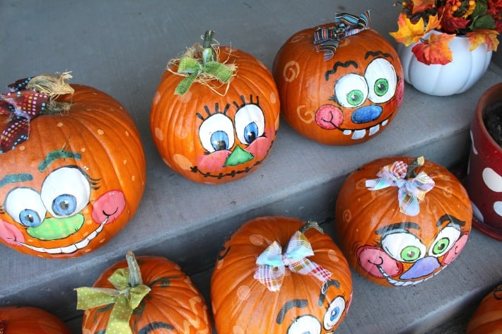 painted decorated pumpkins