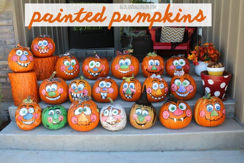 Painted Pumpkins A Girl And A Glue Gun