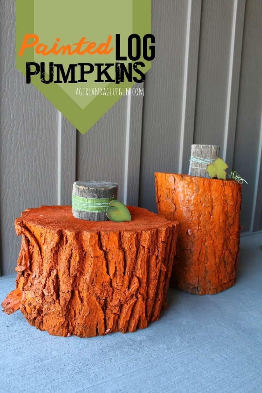 painted wood log pumpkins