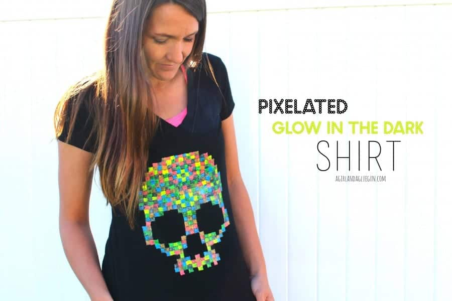 pix-elated glow in the dark shirt for halloween