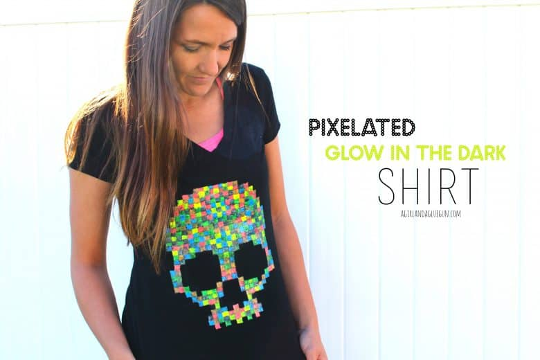 Halloween Pixelated Shirt With Glow In The Dark Fabric Paint A Girl And A Glue Gun