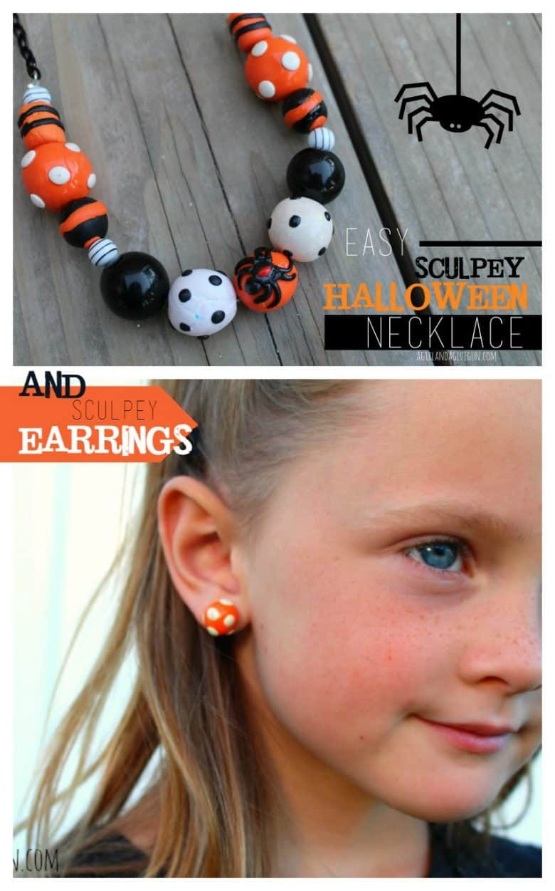 sculpey diy halloween jewlery--necklace and earrings