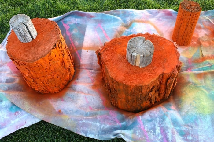 use spray paint to cover log