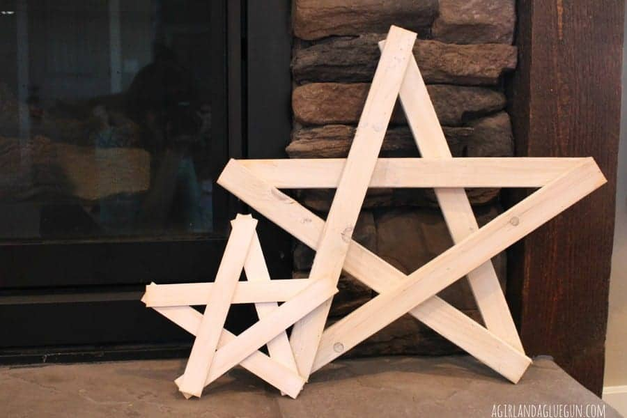 diy wood stars made with hot glue
