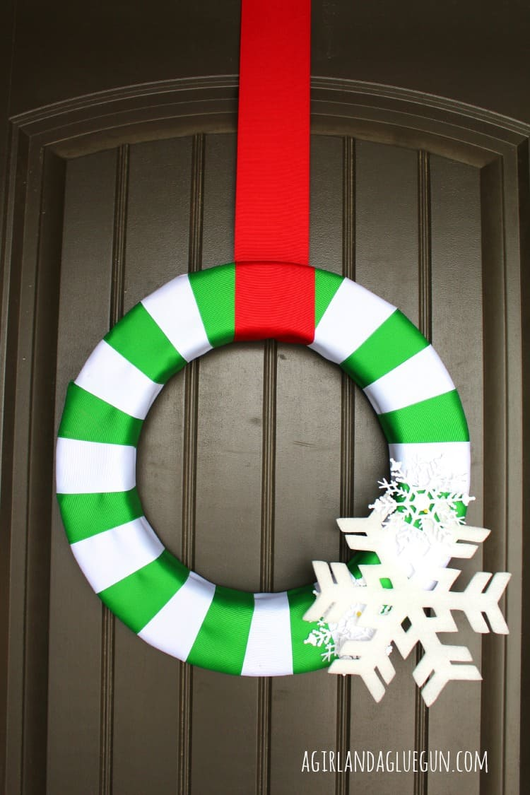 snowflake striped wreath