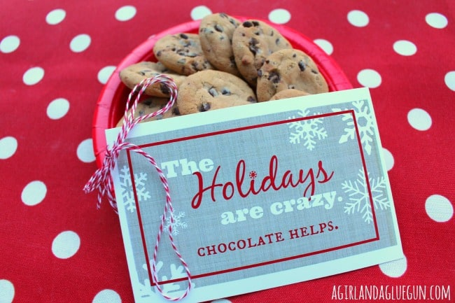 the holidays are crazy. chocolate helps. free printable!