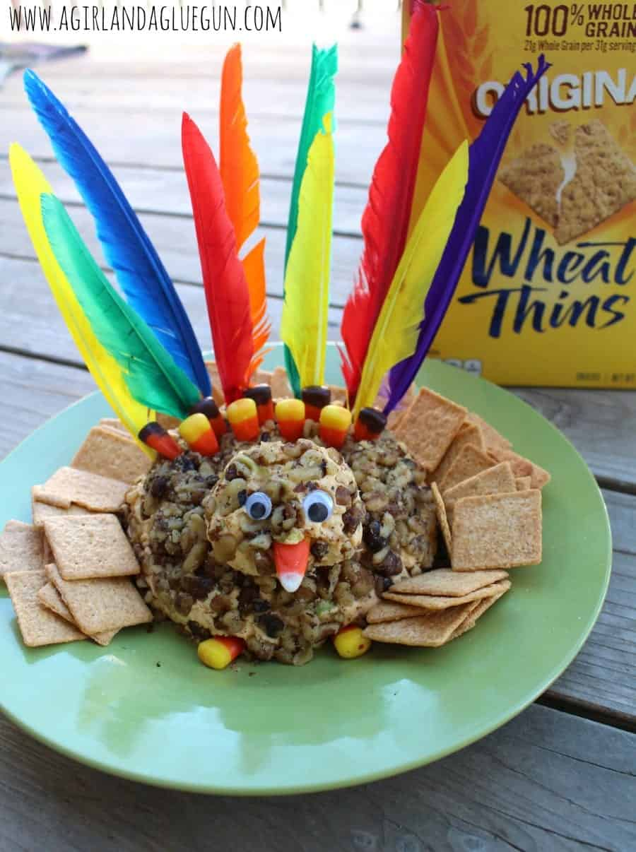 turkey cheese ball with wheat thins