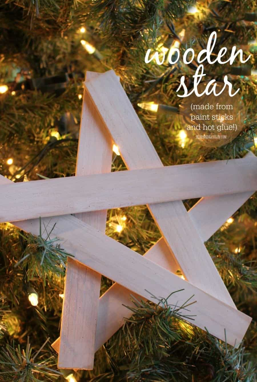 wooden star made from paint sticks and hot glue
