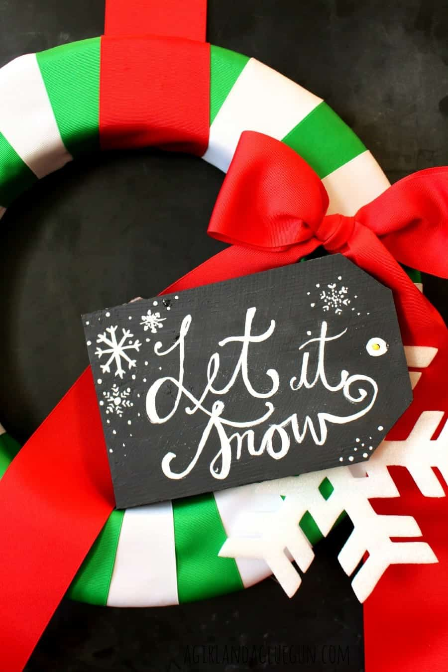 wreath with christmas tag