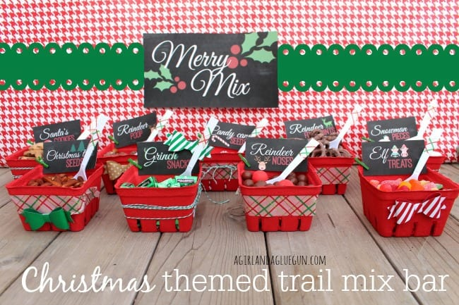 christmas themed trail mix bar