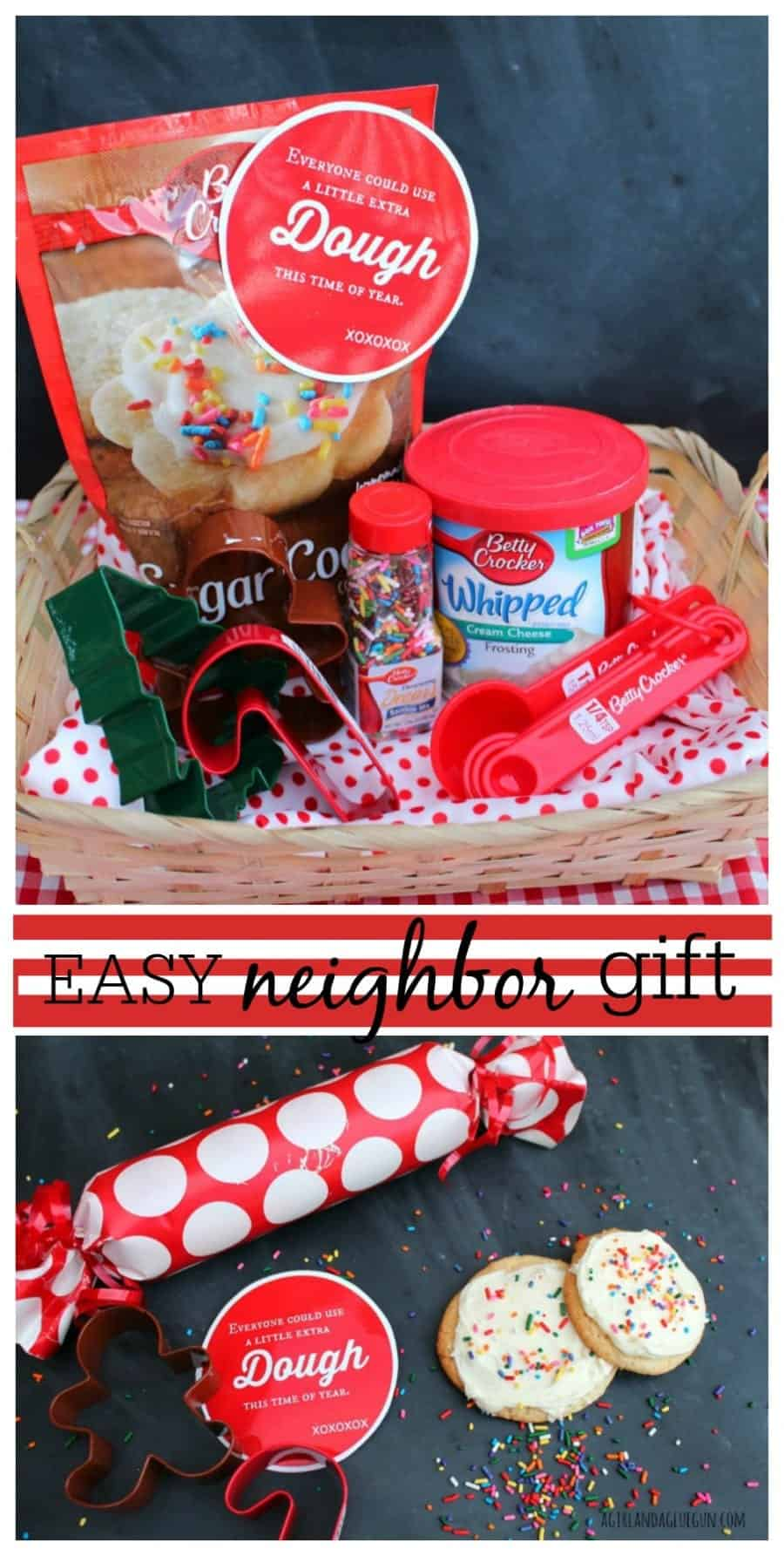 easy neighbor gift--extra dough cookie mix and cutter with free printable