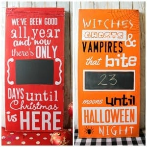 front of back of christmas halloween advent calendar with vinyl