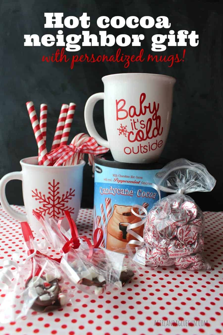 hot cocoa neighbor gift with personalized vinyl mugs