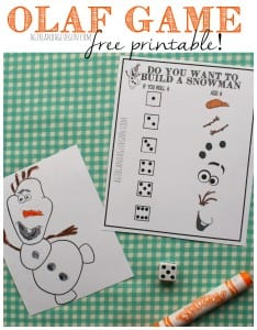 olaf game--do you want to build a snowman free printable. a girl and a glue gun
