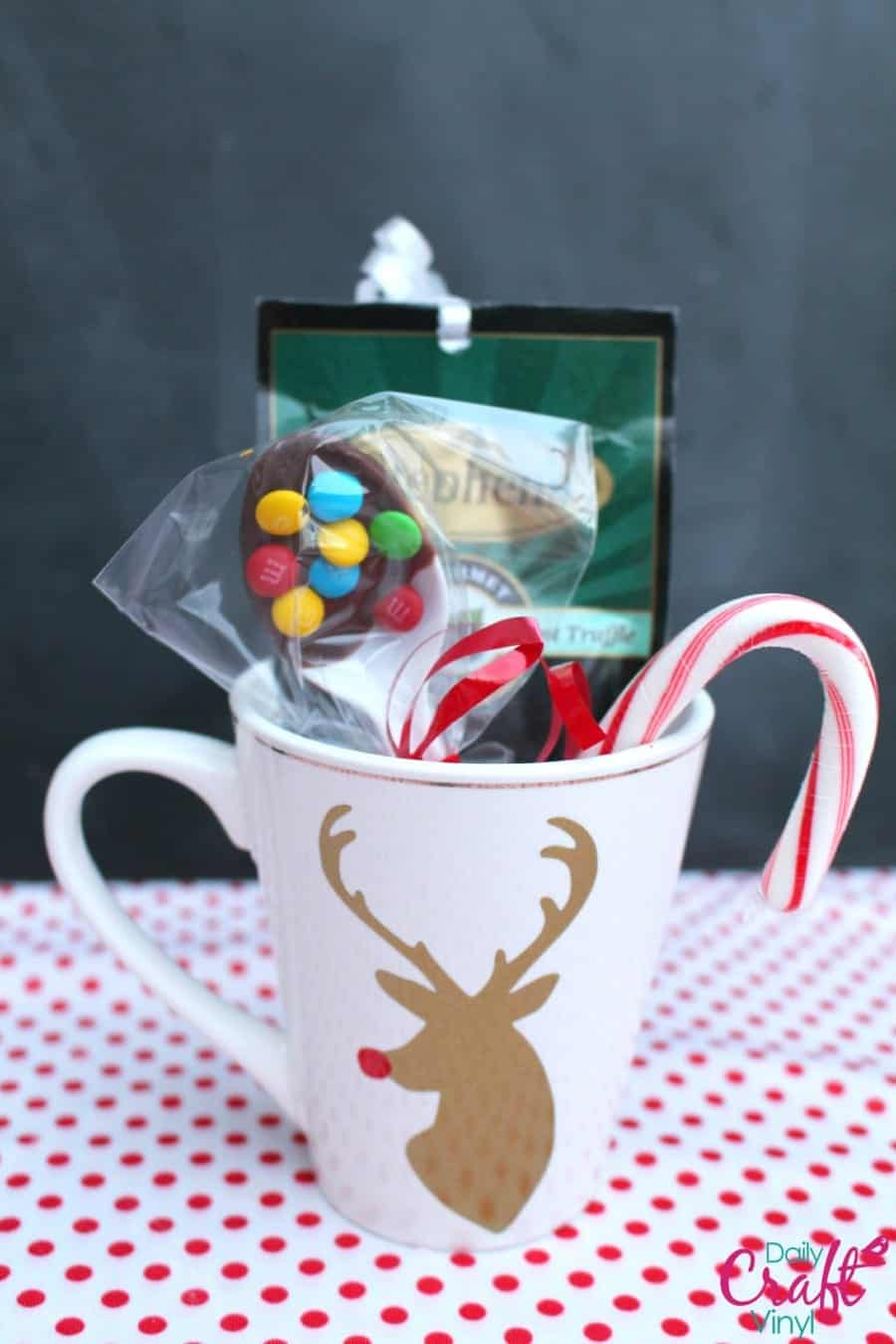 reindeer holiday coffee cup gift with permanent  craft vinyl