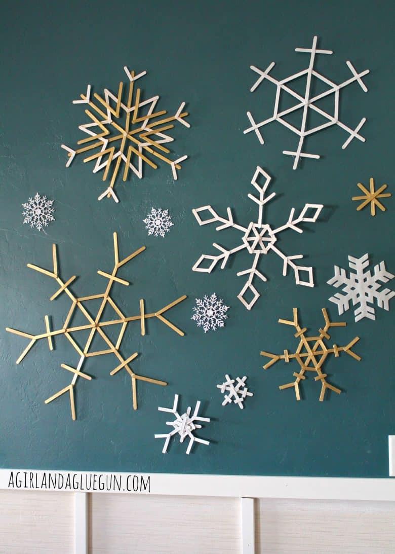 popsicle sticks snowflakes a and a glue gun