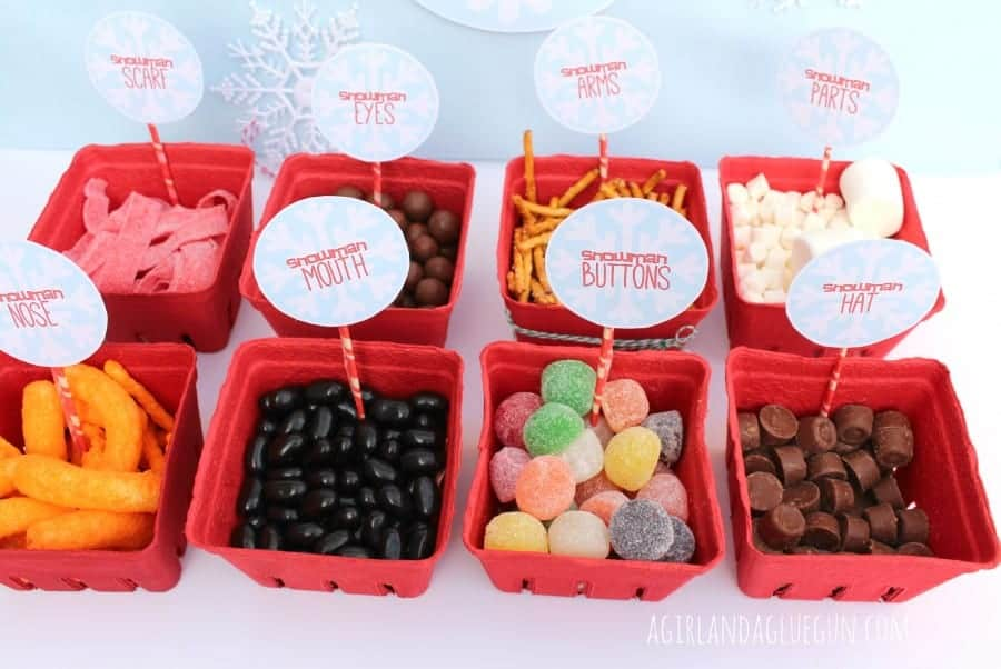 snowman body part treats--great for christmas parties