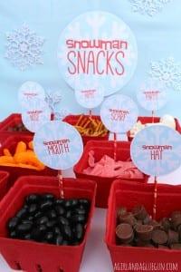 snowman snack mix bar