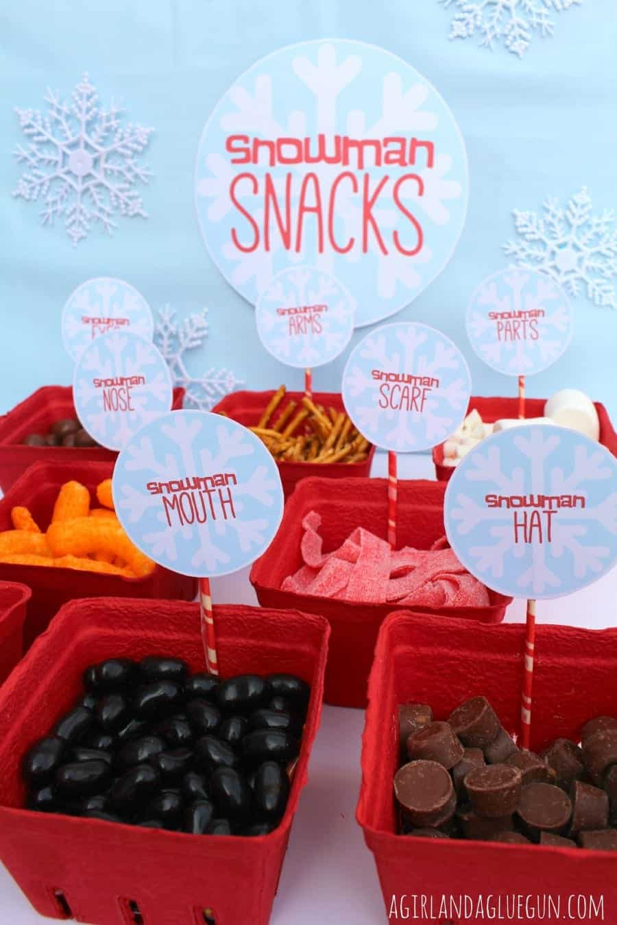 snowman snack mix bar