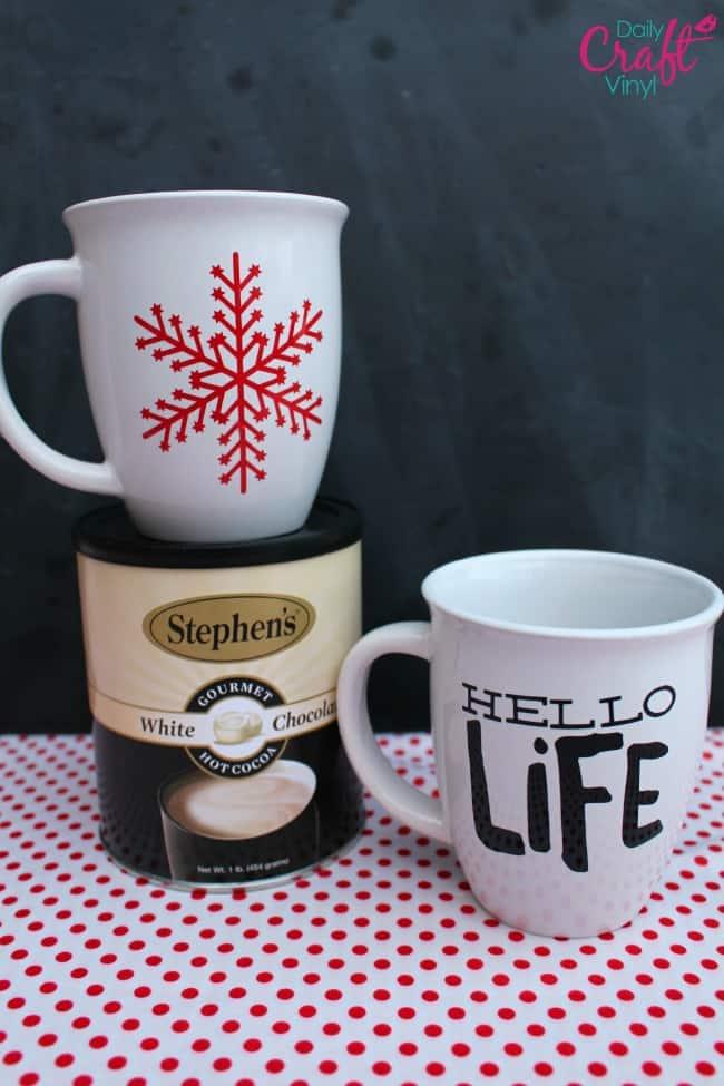 vinyl material on coffee mugs