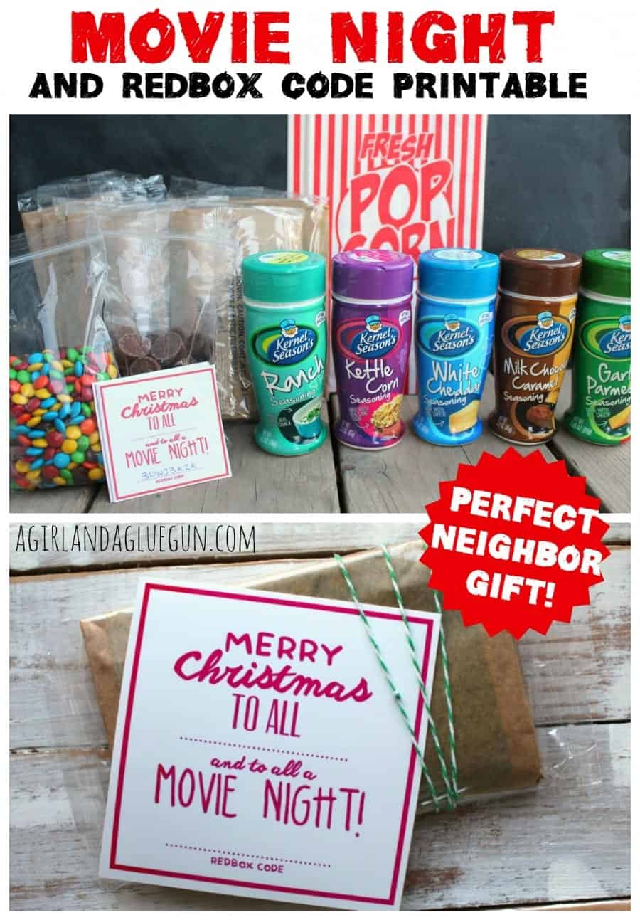 movie night neighbor gift and redbox code printable