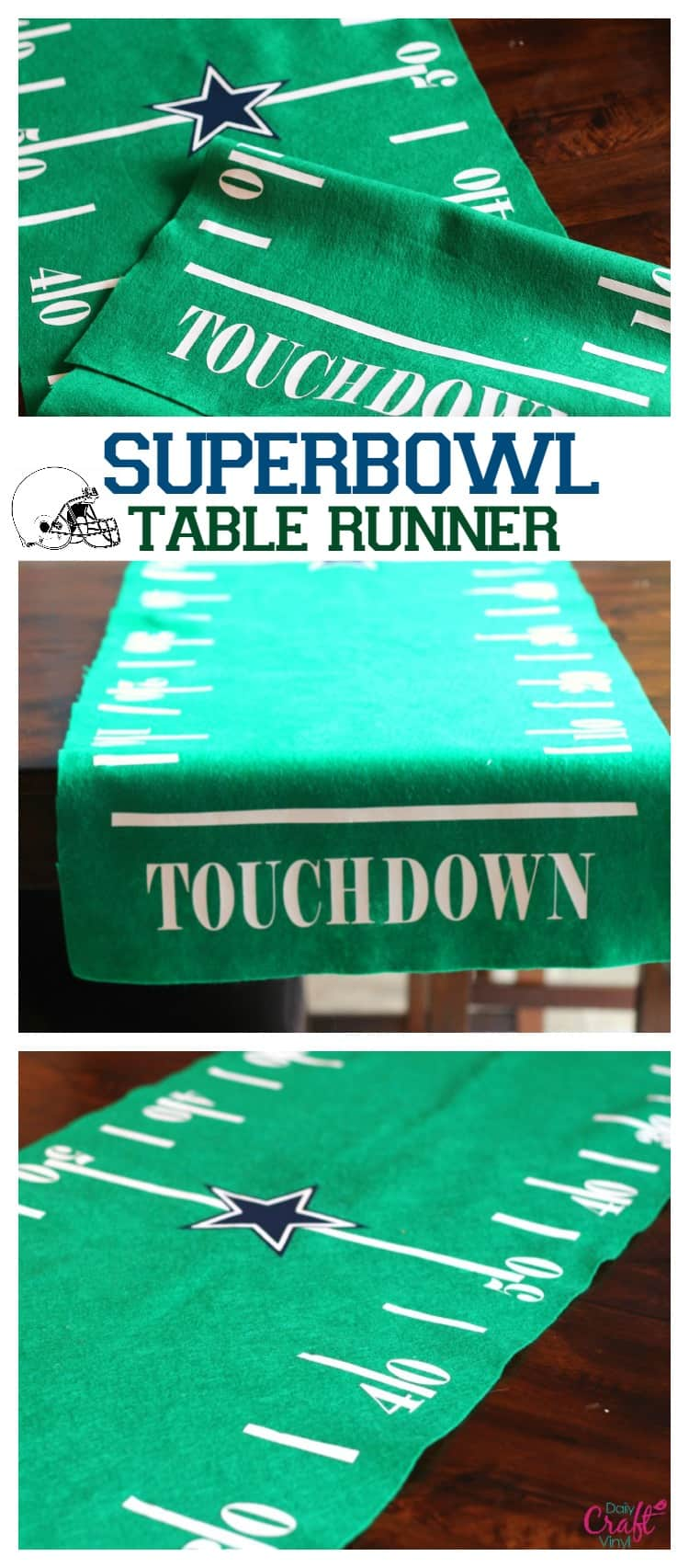 superbowl football field table runner with heat transfer vinyl daily craft vinyl blog