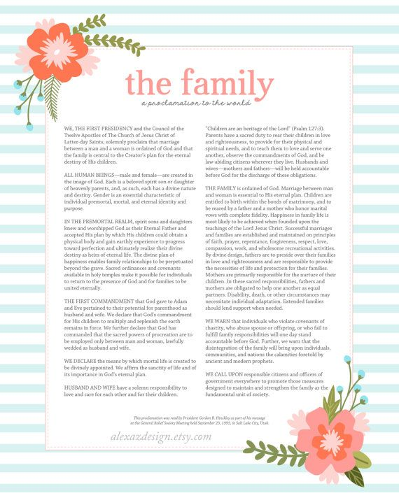 photo about The Family a Proclamation to the World Free Printable known as lds church printable roundup! - A lady and a glue gun