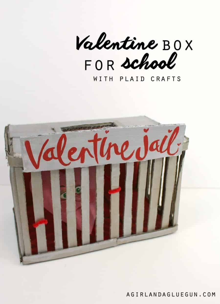 Valentine box for school with plaid crafts