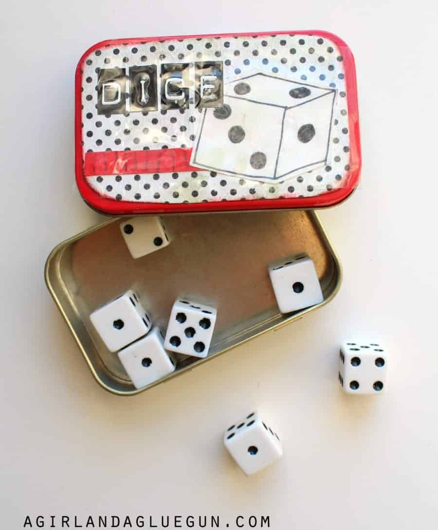 dice in an altoids tin