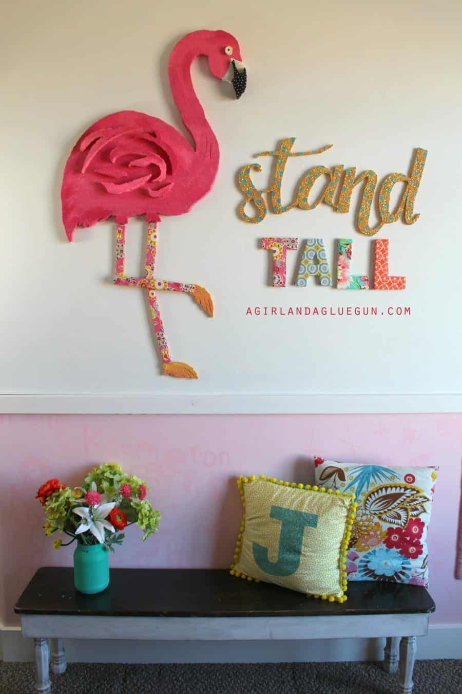 fun flamingo wall art diy with floracraft