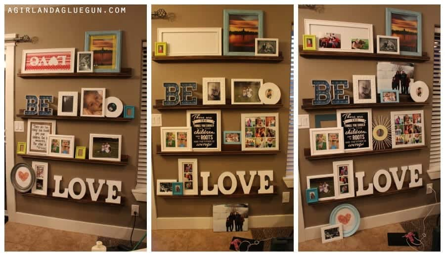 how to style a photo ledge or shelf