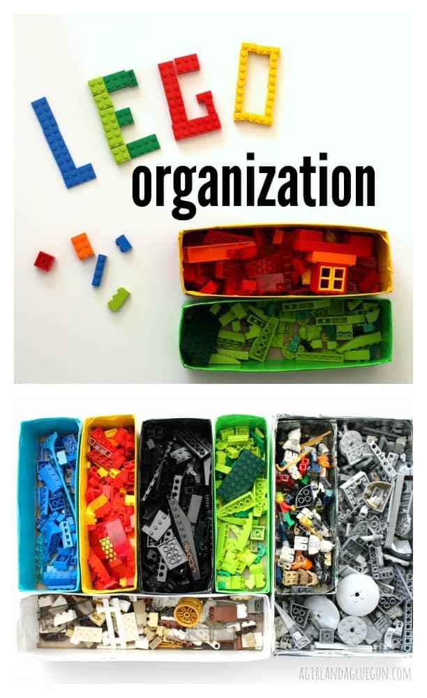 lego organization using cardboard boxes.
