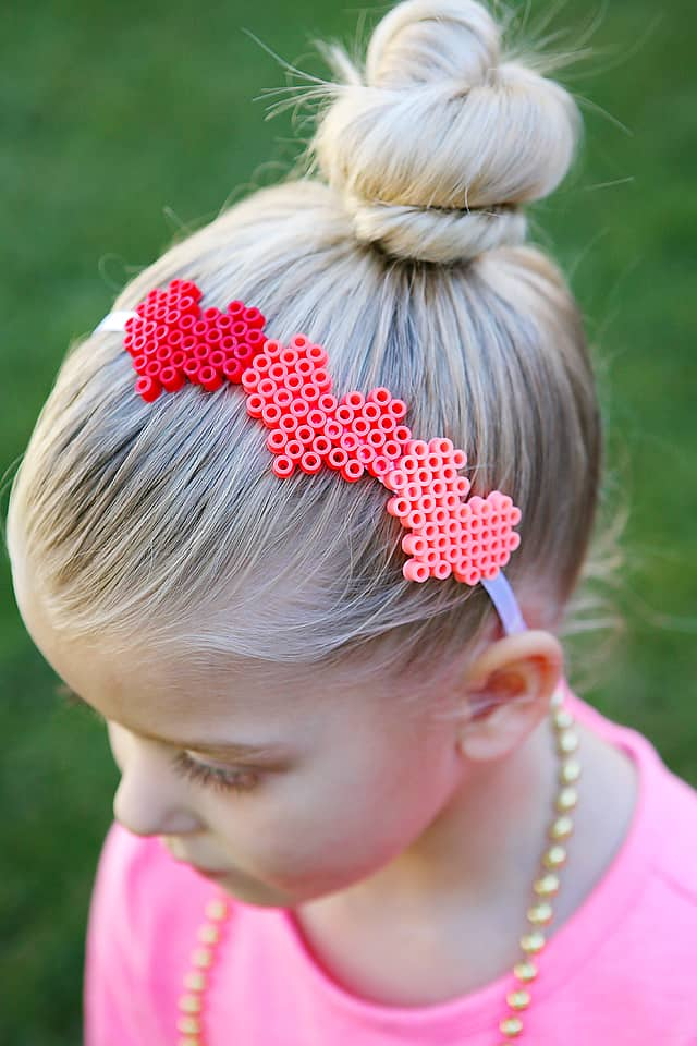 perler bead heart headband