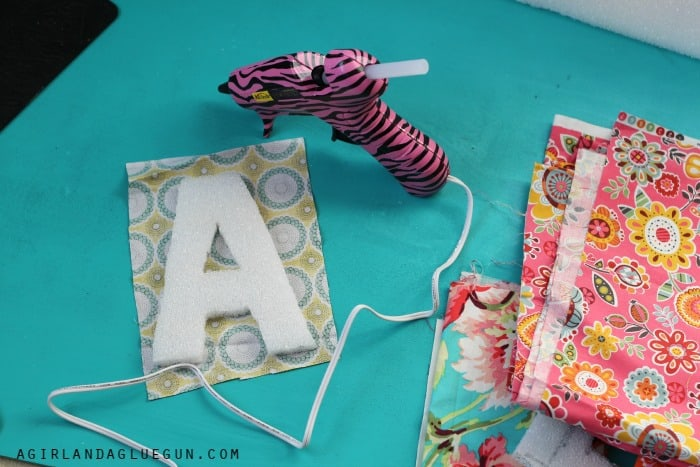 wrap styrofoam letters with fabric