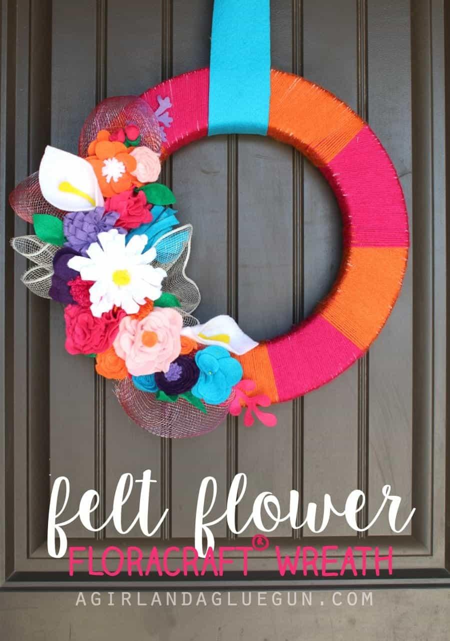 floracraft wreath with felt flowers