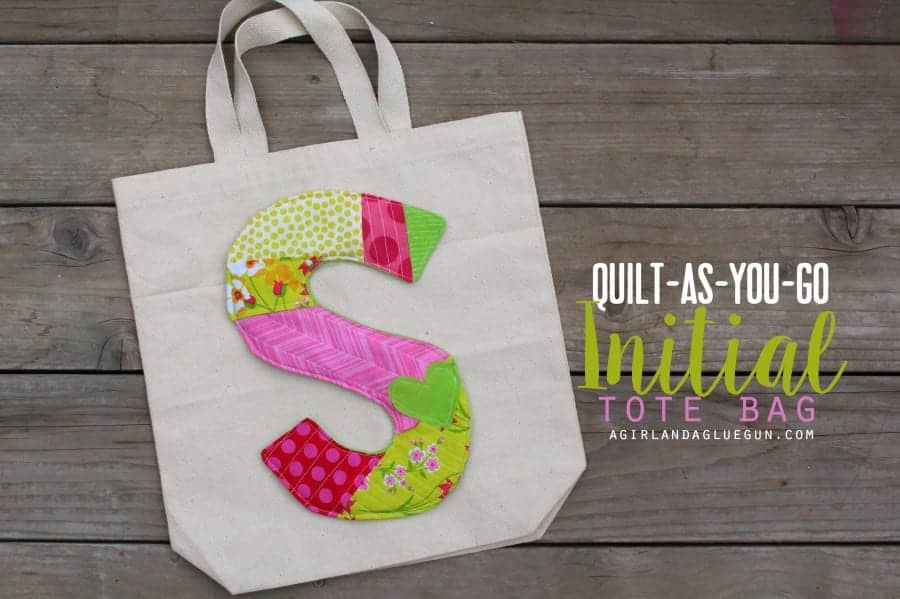quilt as you go initial tote bag
