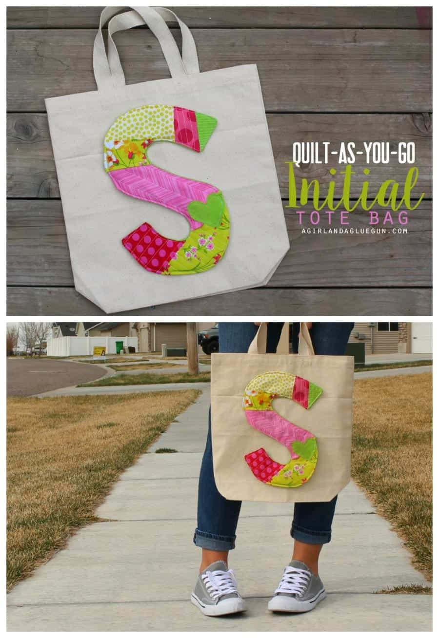 quilt as you go initial tote bag a girl and a glue gun