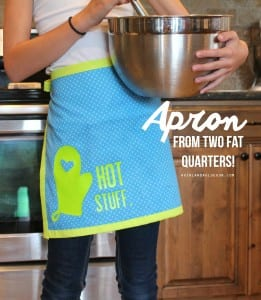 Apron made from two fat quarters and Expressions Vinyl