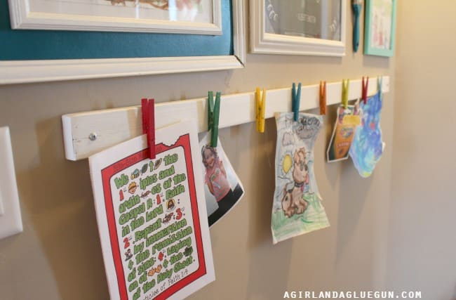 clever way to hang your kids artwork