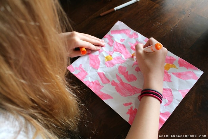 color in crumpled lines...kid color activity