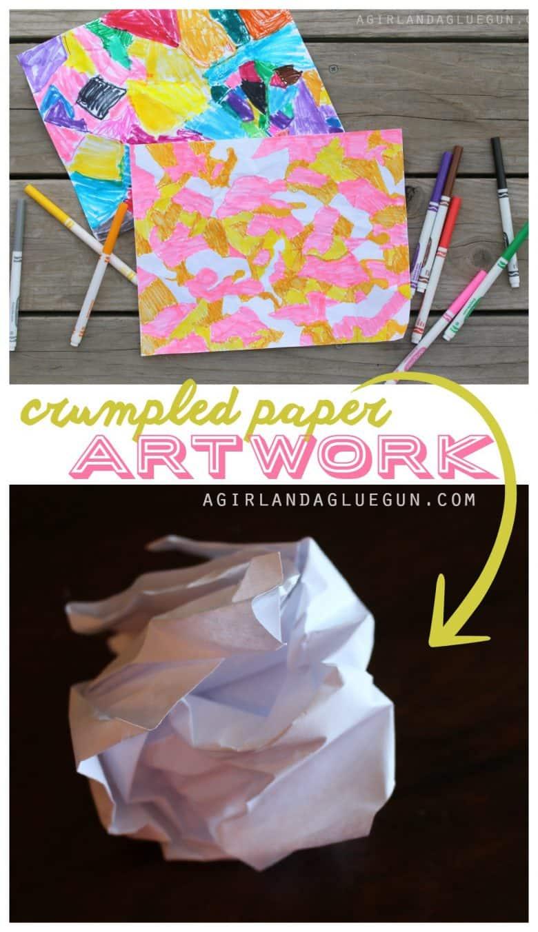Crumpled Paper Art Kids Craft A Girl And A Glue Gun