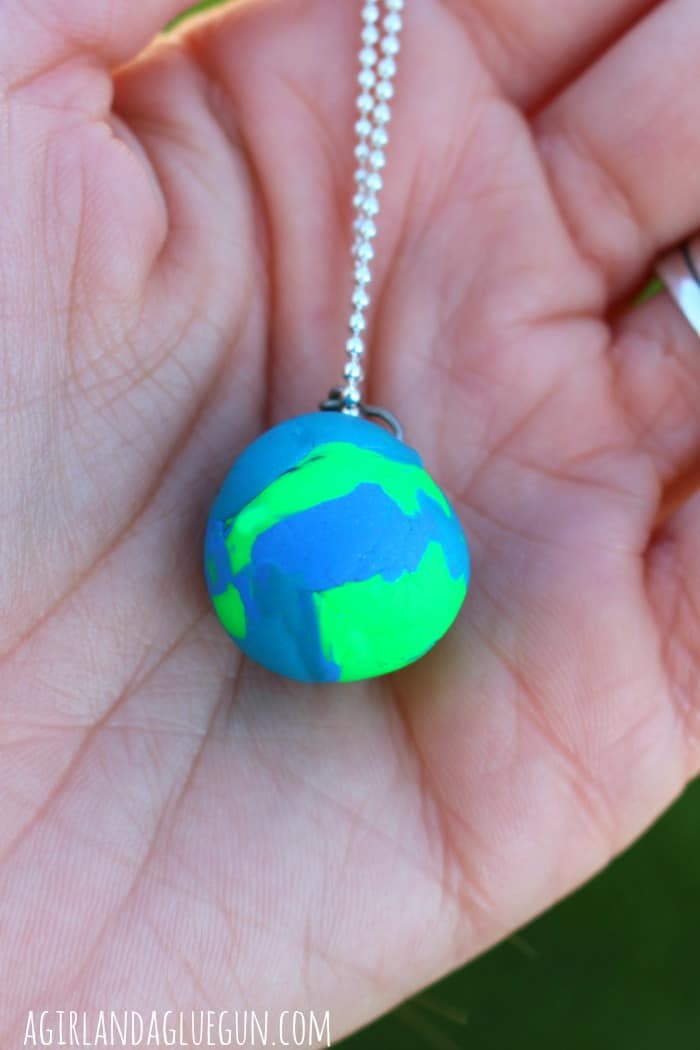 earth day necklace out of sculpey