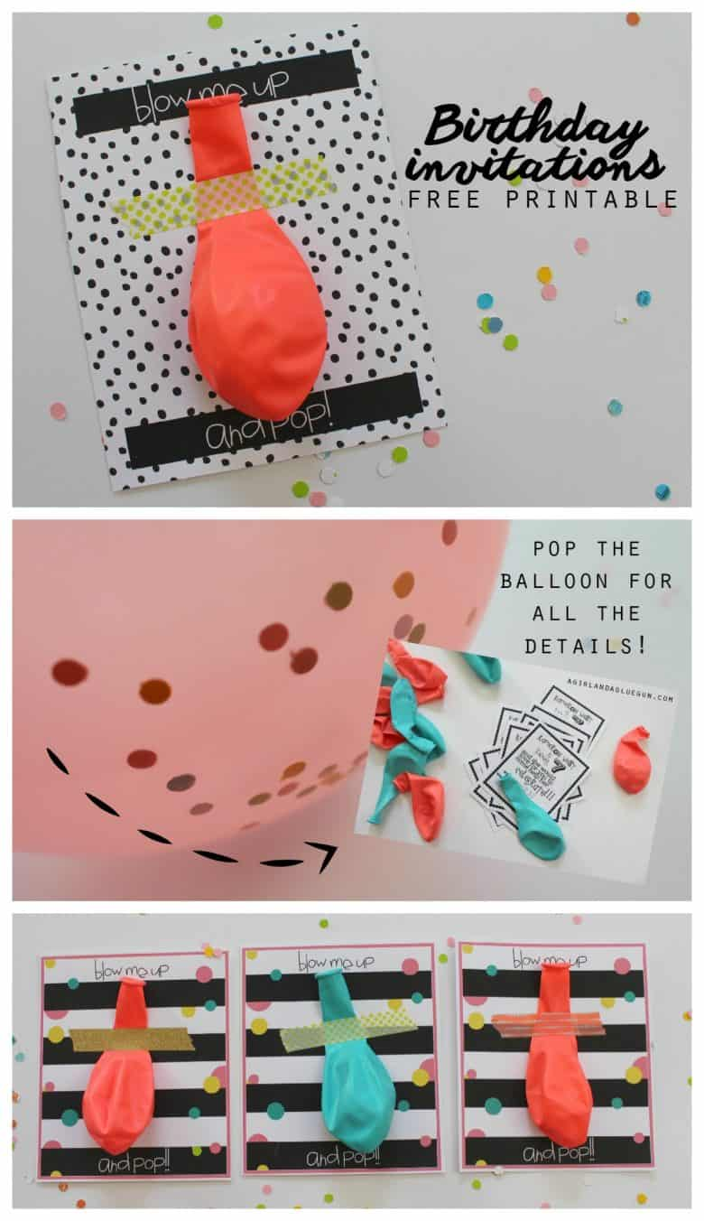 balloon invitations with free printables - A girl and a glue gun