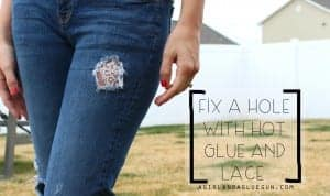 hot glue and lace to fix a hole
