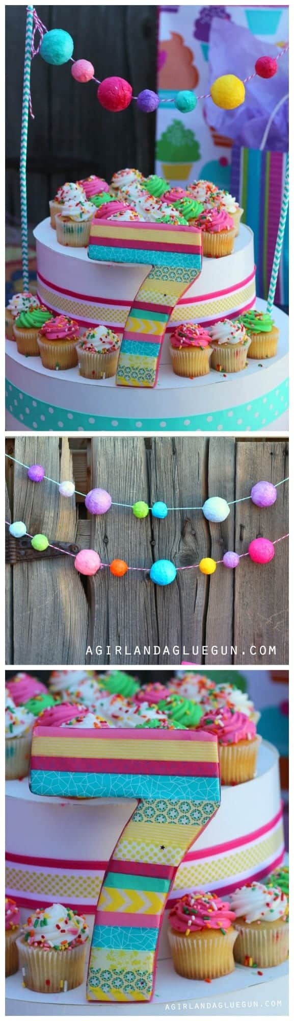 styrofoam garland and cupcake stand