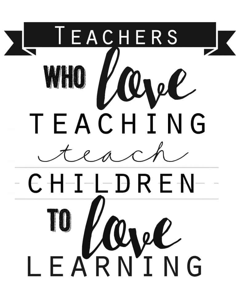 Preschool Quotes For Teachers: Teacher Quote Free Printable!