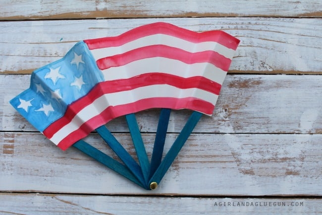 4th of july fan with watercolor