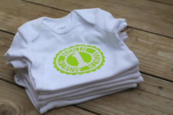 baby onesie with heat transfer vinyl