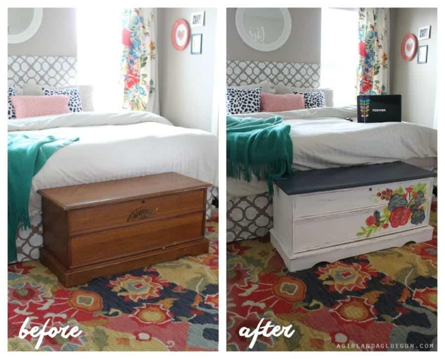 before and after of chalk paint cedar chest